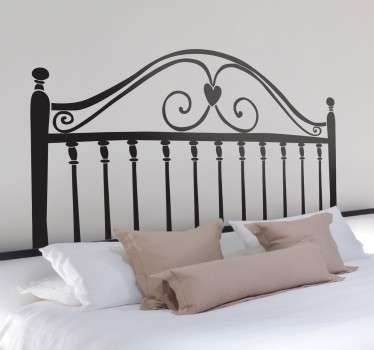 Classic headboard wall sticker for creating an atmosphere of love in your bedroom decor. Original and distinctive decoration feature above your bed. Heart themed wall sticker available in 50 colours and in various sizes.