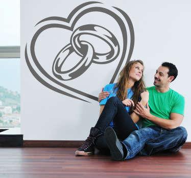Autocolante anéis de casamento e coração