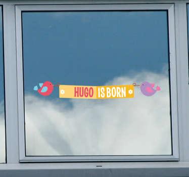 Adesivo personalizzato nascita uccellini