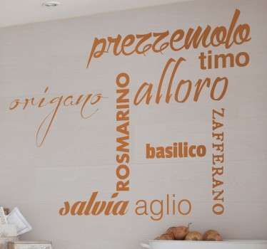 Sticker murale che riporta alcuni dei condimenti caratteristici della cucina mediterranea. Decorazione adesiva pensata per decorare la tua casa.