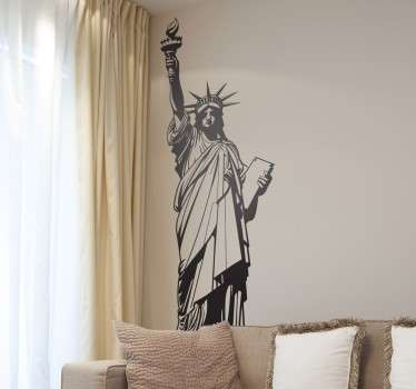 Iconic New York Wall Sticker of one of the world's most famous monuments, the Statue of Liberty. This NYC wall decal shows the great statue that welcomes immigrants into the USA available in various sizes and colours.
