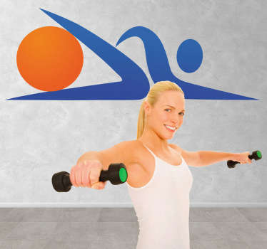 Duvar çıkartmaları - aktif olun! Fit olmak! Yapan bir kişinin düz simgesi tasarım. Sporla ilgili, fitness ve beslenme organizasyonları için idealdir.