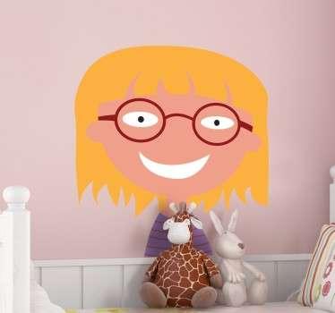 Vinilo decorativo niña con gafas y sonriente