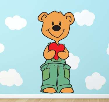 A lovely designs illustrating a teddy holding a heart. A teddy decal from our collection of teddy bear wall stickers suitable for all ages.