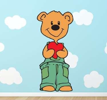 Sticker enfant ours coeur