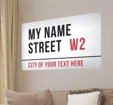 Muursticker gepersonaliseerd Londen straat naam.