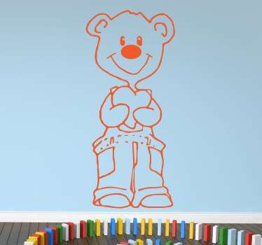 A cute drawing of a smiling bear that is clutching a love heart, a sticker that will look great in your child's bedroom.