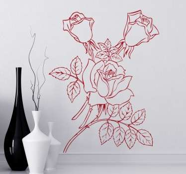 Decals -Outline illustration of a rose stem. Ideal for revamping your walls, windows, appliances and more. Made from high quality vinyl, easy to apply