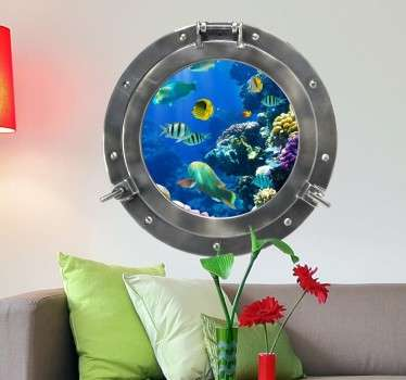 This superb customisable submarine porthole design from our sea wall stickers collection is deal to decorate your home if you love the sea life.