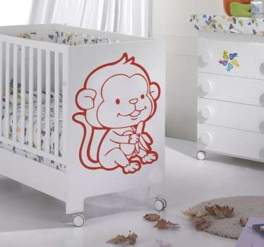 Baby Monkey & Banana Wall Sticker