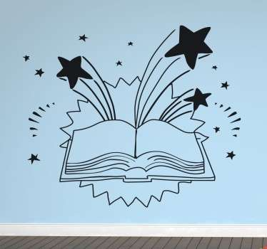 Decorative sticker to show your children that a book can take you on many adventures.