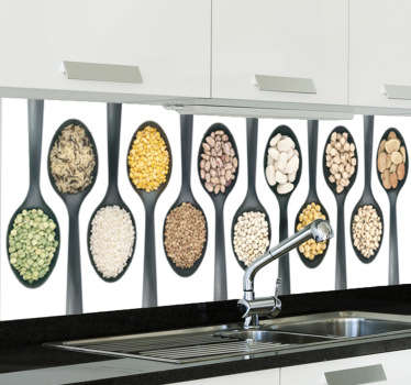 A photographed photomural with numerous spoons filled with different types of food. A kitchen design from our tile stickers collection!