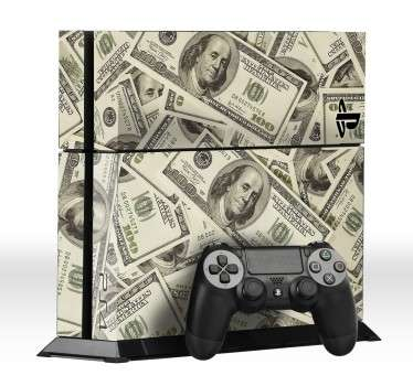 PS4 Skins- Customise your PlayStation 4 and make it original and distinctive with this dollar bill themed design.