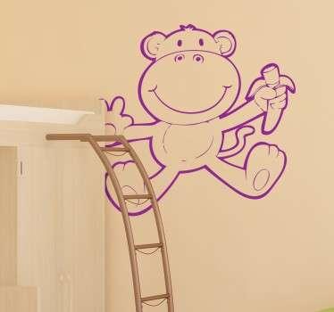 猿の描画イメージで作成された子供の寝室の壁のステッカーデザイン。子供のための楽しくて幸せな装飾。どのサイズでもご利用いただけます。