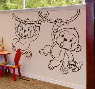 Vinil decorativo infantil com macacos à corda