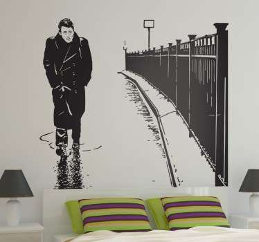 Vinilo decorativo retrato James Dean lluvia