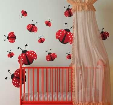 Sticker rode lieveheersbeestjes