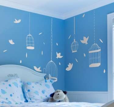 Bird silhouette wall sticker - Perfect for decorating your children´s bedroom. The bird decal contains flying birds, cages and feathers.