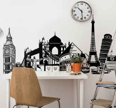 Travel Wall Stickers - Collage illustration of various monuments from around the world in cities such as London, Cairo, Pisa, Paris, Rome and more. Ideal location wall sticker for personalising your bedroom, living room or more.