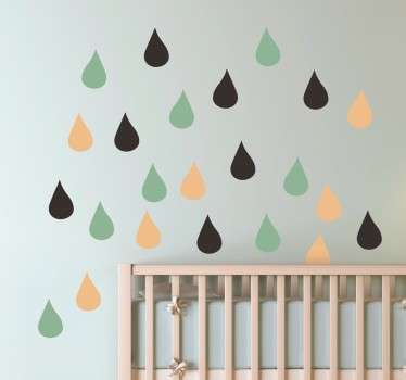 Kids Wall Stickers - Simple decorational feature ideal for the nursery. Three basic colours that you can change if you wish. Measures 2x3.5cm.