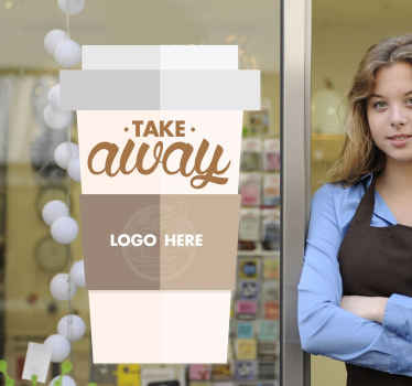 A personalised window sticker showing an illustration of a coffee cup with your company logo. A brilliant customisable coffee wall sticker for to allow your business to advertise that you sell takeaway coffee in a unique and professional way.