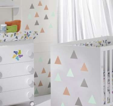 Personalise your home with this set of wall sticker showing many triangles in different colors.