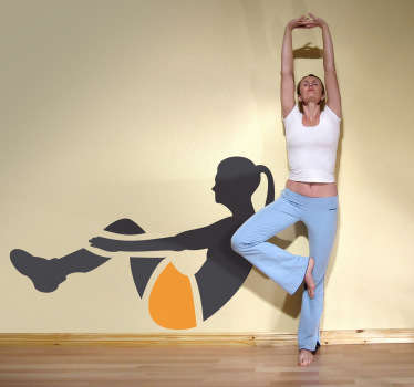 A fitness decal of an active female doing an abdominal workout. Ideal to decorate fitness and sports-related organisations.