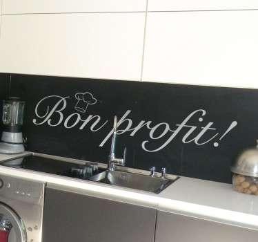 Vinila las paredes de tu cocina o de tu negocio de hostelería con una sencilla frase en catalán que invitará a disfrutar del menú que les ofrezcas.