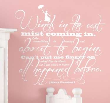 Wall Stickers - A Mary Poppins theme design. Wall quote art inspired by the adventures of Mary Poppins in the musical fantasy film.