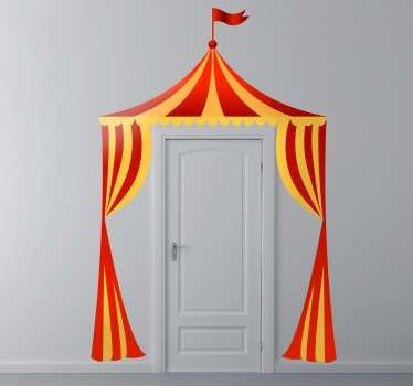 A fun and creative sticker of a colourful circus tent entrance, to add some excitement to your children's bedroom or playroom.