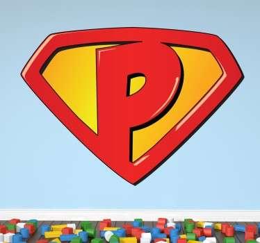 Sticker super-héros lettre P