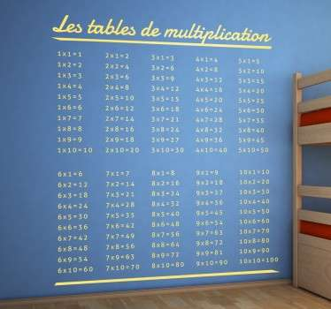 Sticker enfant tables de multiplication