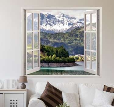 Adesivo murale finestra 3d personalizzabile con la tua immagine preferita per creare il tuo paesaggio dei sogni da ammirare tutti i giorni