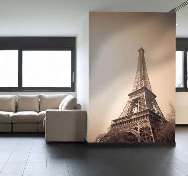 Photo Murals - Sepia tone photo of the Eiffel Tower in Paris. Available in various sizes. High quality vinyl materials used.