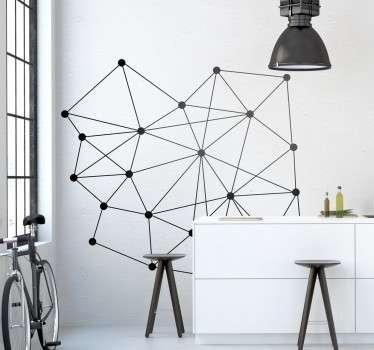 Adhesivo decorativo básico de pared representado por figuras geométricas, con ciertas reminiscencias a elementos físicos y nucleares.