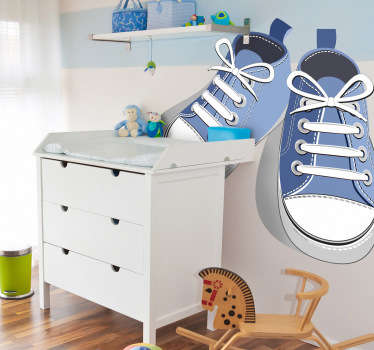 Decorative sticker for kids illustrating blue trainers for the little ones. Brilliant decal to decorate your child´s room.
