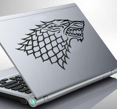 Sticker ordinateur emblème stark loup