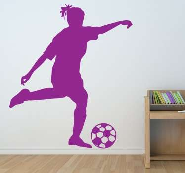 Girls play football too! A sticker of a female footballer in action for all those who believe this sport is not just for boys.