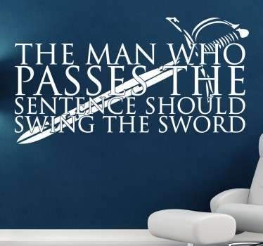 Wall Stickers - Wall quote art inspired by the series Game of Thrones. Ideal for fans of the hit books and HBO series