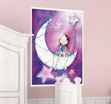 Adesivo infantile bambina e la luna