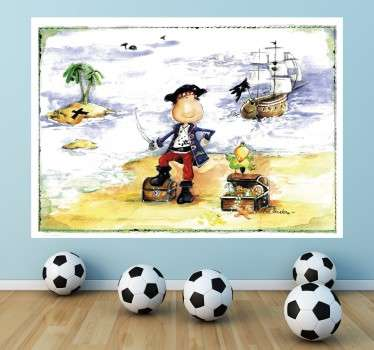 A fantastic design illustrating a small boy dressed as a pirate looking for the treasure! A decal from our collection of pirate wall stickers.