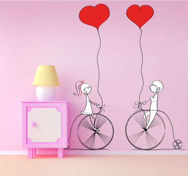 Decorative love stickers showing a young couple cycling and holding heart shaped balloons. From our collection of love heart stickers.