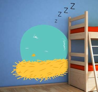 Kids Wall Stickers - Illustration of a bird sleeping in a yellow nest by Pablo Mateo. Fun, colourful and playful feature for decorating your nursery.