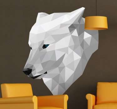 Decal - Wall Stickers - Three-dimensional recreation of a white wolf designed by Pablo Mateo exclusively for Tenstickers.