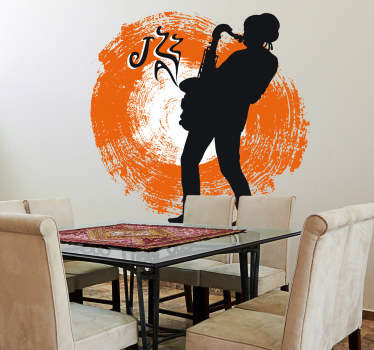Decorative musical sticker of a jazz saxophonist. A perfect wall decal to decorate your walls especially for those that love jazz!