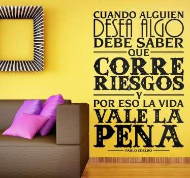Vinilo de texto correr riesgos Paulo Coelho