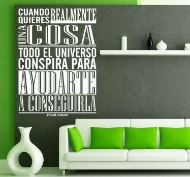Vinilo de texto universo Paulo Coelho