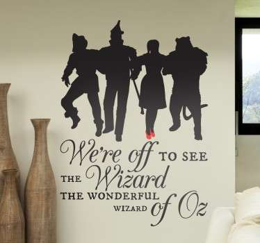 Wall sticker of the famous movie The Wizard of Oz with a silhouette of Dorothy with her red shoes, scarecrow, lion and tin woodman!