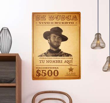 Pegatina se busca. Adhesivo personalizado basado en los carteles de recompensa del antiguo oeste americano.