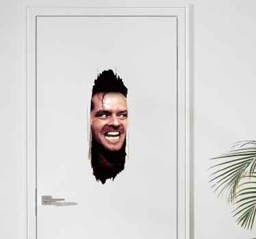 A brilliant door wall sticker displaying Jack Nicholson's face during a scene in The Shining. High quality vinyl used now.